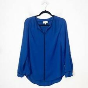ModCloth Navy Blue Long Sleeve Blouse
